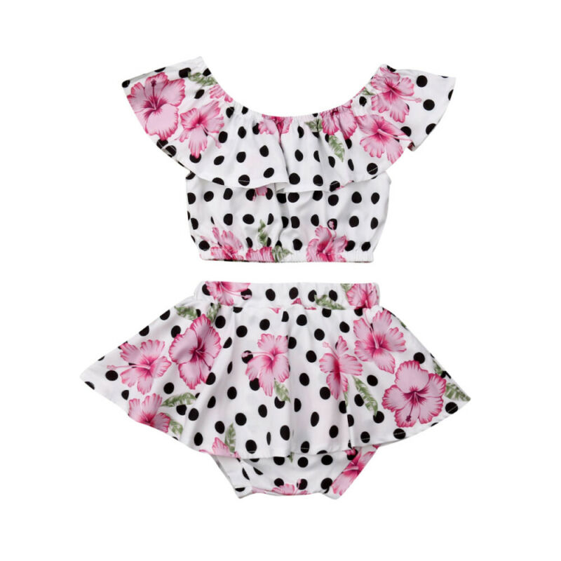 0-3Y Cute Newborn Baby Girl Off Shoulder Crop Tops Polka Dot Tutu Skirted Shorts Bloomers 2PCS Outfits Summer Clothes