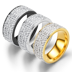 Hip Hop Iced Out CZ Bling Men's Ring Black/Gold/Silver Color Stainless Steel Wedding Engagement Rings for Women Men Jewelry 2020