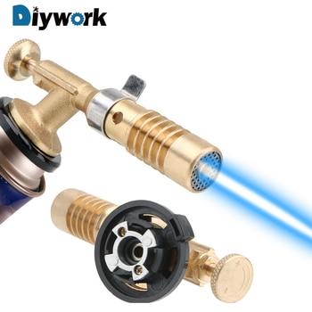 цена на DIYWORK Copper Gun Torch Cooking Blow Torch Butane Lighter Ignition Lighter Heating Welding Butane Gas Welding Torch For Camping