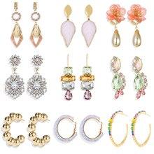 Trendy Style Drop Crtsyal Earrings For Women Leaf Flower C Shape Earrings Fashion Female Jewelry Earrings Christmas Gifts