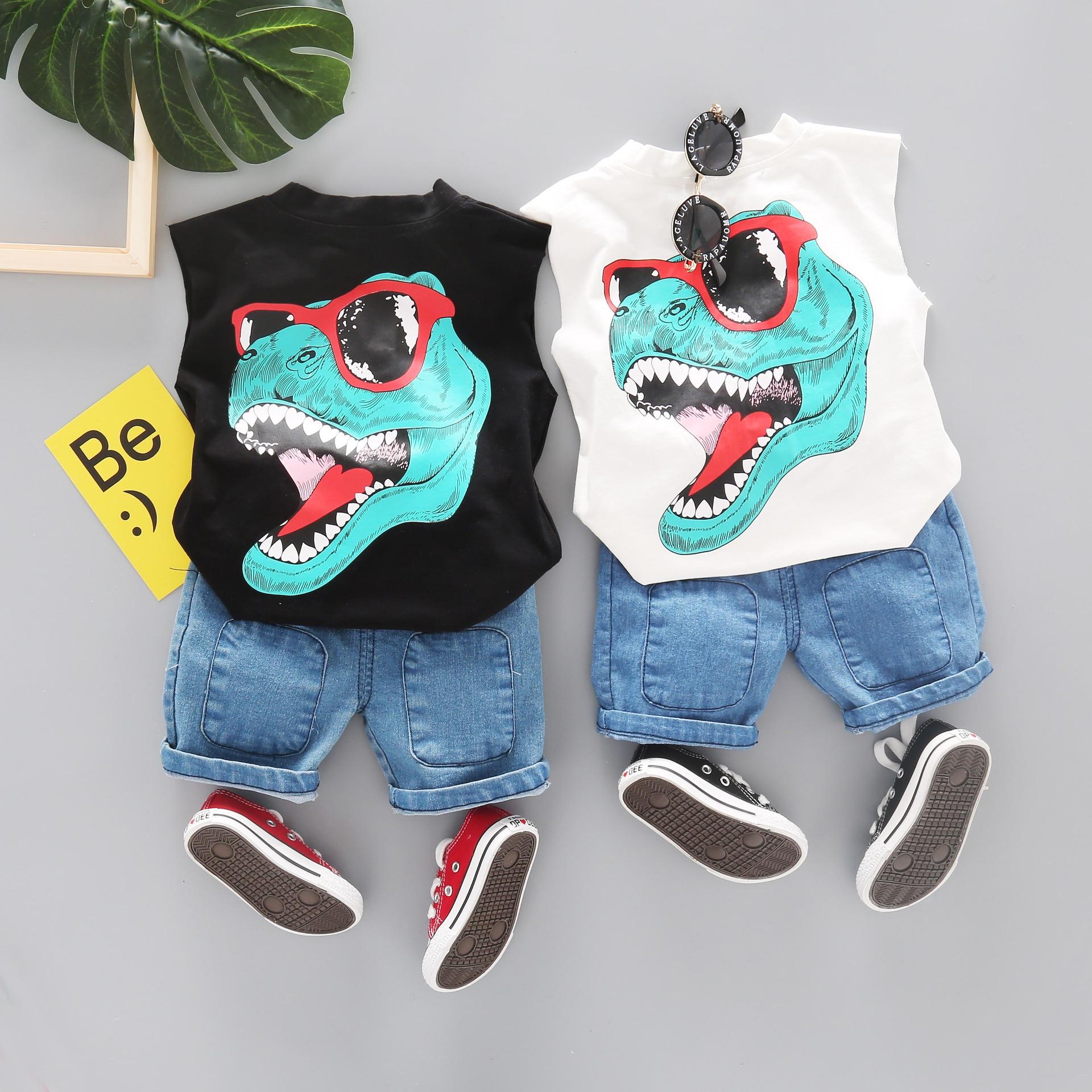 conjuntos de roupas dos meninos da crianca dos desenhos animados verao criancas roupas dinossauros esportes terno