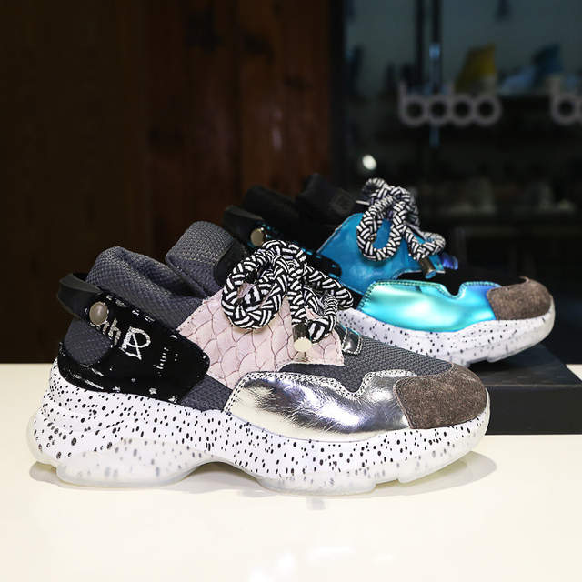 2019 Autumn Ladies Glitter Chunky Sneakers Platform Casual