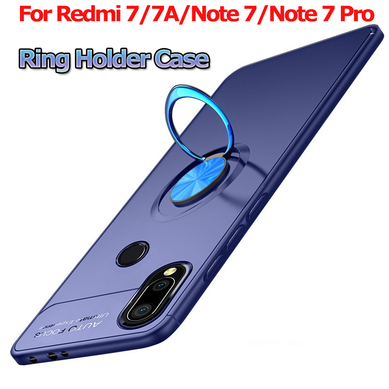 Magnetic Holder Phone Case for Redmi 7A Note 7 Case Bracket Cover Xiaomi Redmi 7A Note 7 Pro Case Luxury Finger Ring Soft Cover in Fitted Cases from Cellphones Telecommunications