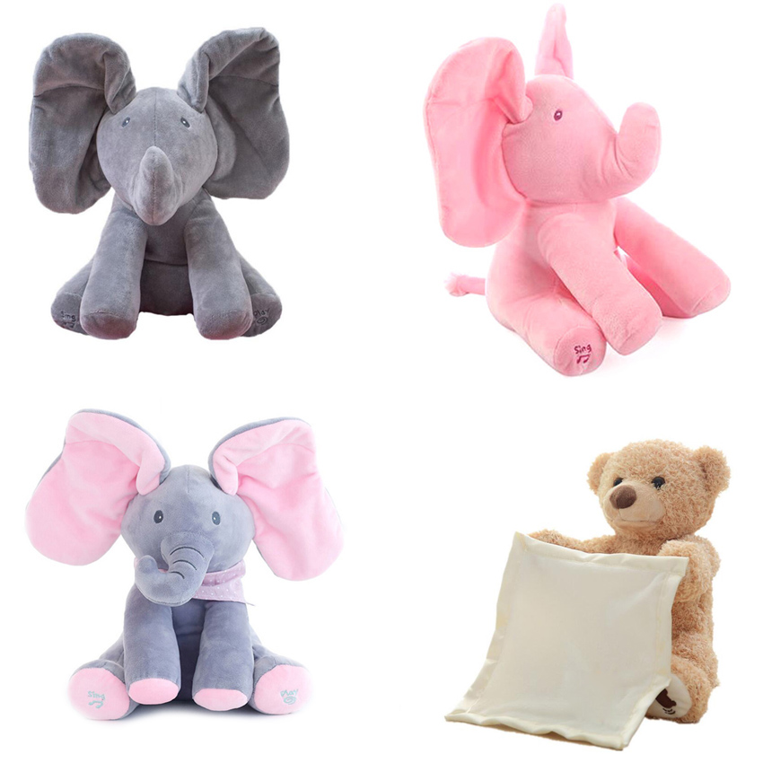 Dropshipping 30cm Peek-a-boo Plush Peekaboo Elephant Electric Blinking With Concert Singing Grey Pink Upgraded Version Doll