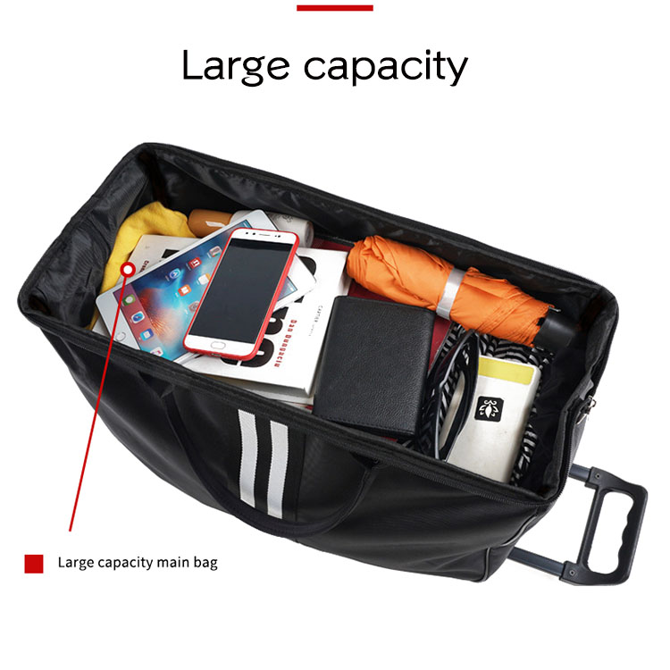 Women Trolley Bag on Wheels Large Men's Traveling Luggage Bags with Wheels Stripe Trolley Oxford Weekend Travel Bag Hand Luggage