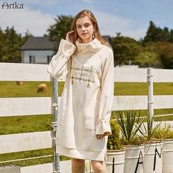 ARTKA 2019 Осень Зима Новая Женская толстовка Элегантная вышивка свитшоты длинный плотный пуловер Толстовка женская VA10391D