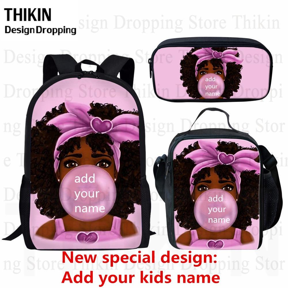 THIKIN Kids Backpack Girls For School Black Art African Girls Print Bagpack Children 3pcs/set Schoolbag Bookbag Mochila Escolar