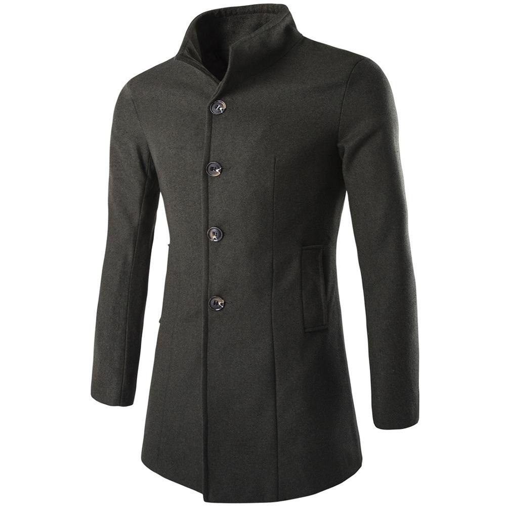 Winter Oversized Woolen Blend Coat Male Long Thick Warm Men Black Jacket Man Overcoat