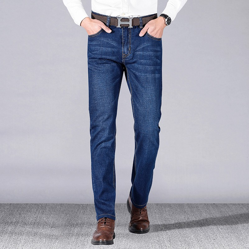 2019 Black Grey Brands Jeans Trousers Men Clothes  Elasticity Skinny Jeans Business Casual Male Denim Slim Pants Classic Style