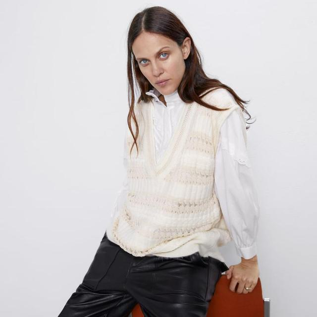2020 New Fashion Elegant White Kintted Sweater Women Casual Streetwear V-Neck Vest Tops Female Spring Warm Clothes Wholesale 8