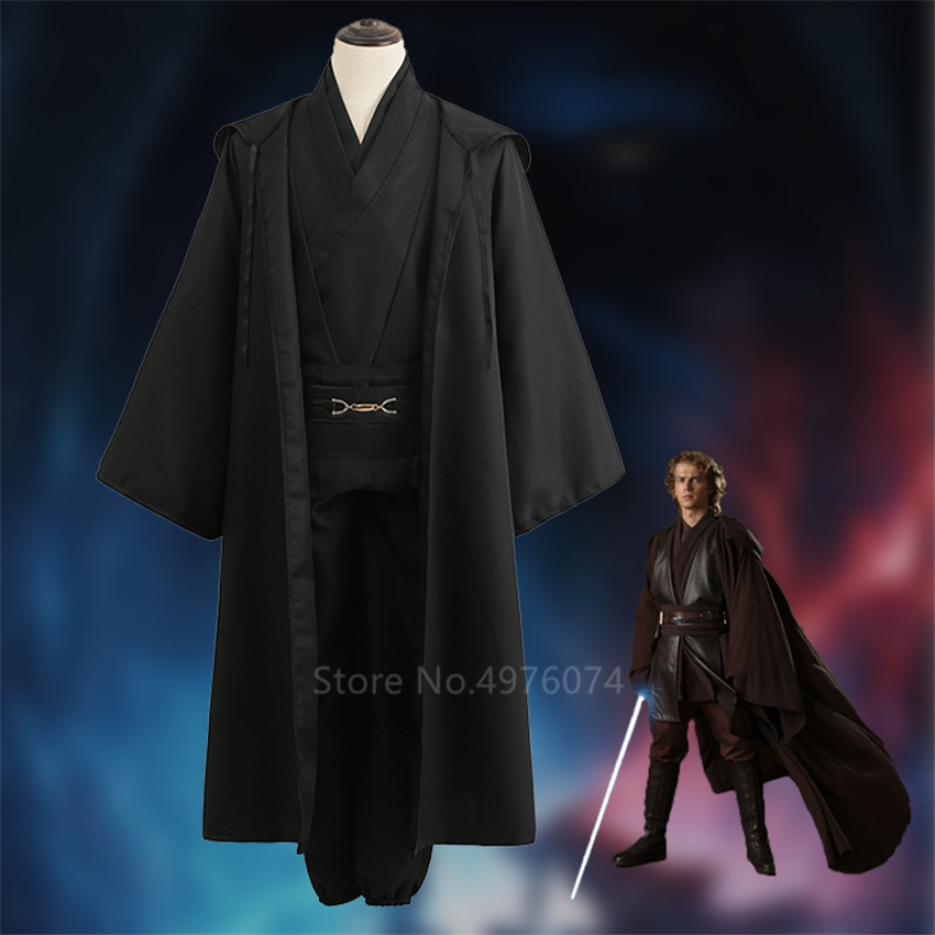 Adult Men Star Wars 4PCS Halloween Cosplay Costume Anakin Skywalker Jedi Knight Robe Carnival Anime Disguise Party Clothing Set