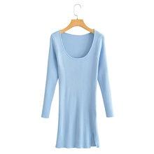 Женское трикотажное платье свитер za однотонное элегантное футляр