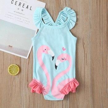 Malapina 2020 Toddler Baby Girls One-Piece Swimsuit Children Flamingo Print Butterfly Kids Swimwear Summer Beach Clothes