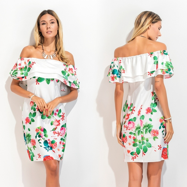 Models make EBAY trade strapless one word led with double printed flounce cultivate ones morality dress spot