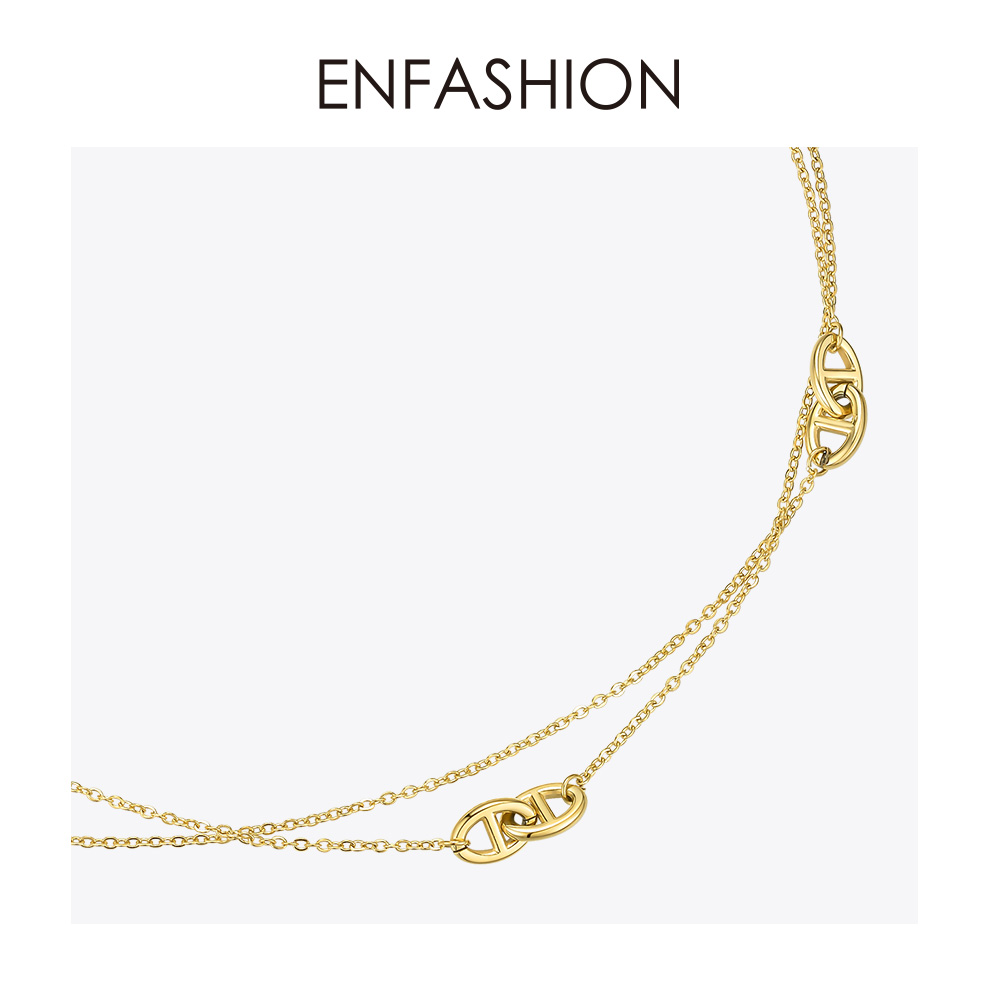 Image 3 - ENFASHION Geometric Hollow Chain Choker Necklace Women Gold Color Stainless Steel Long Necklace Fashion Femme Jewelry P193060Chain Necklaces   -