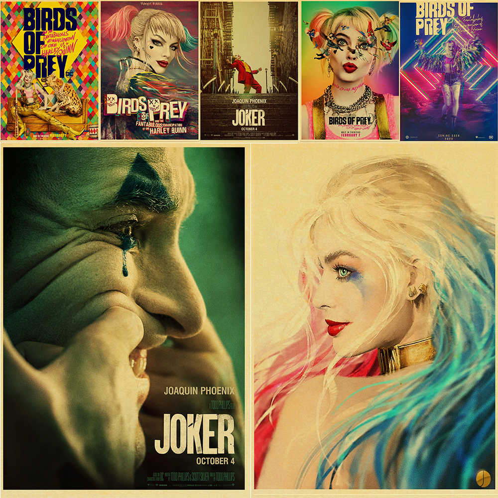 Birds Of Prey Harley Quinn Joker Retro Movie Posters And Prints Home Room Bar Wall Decor Poster Art Painting Aliexpress