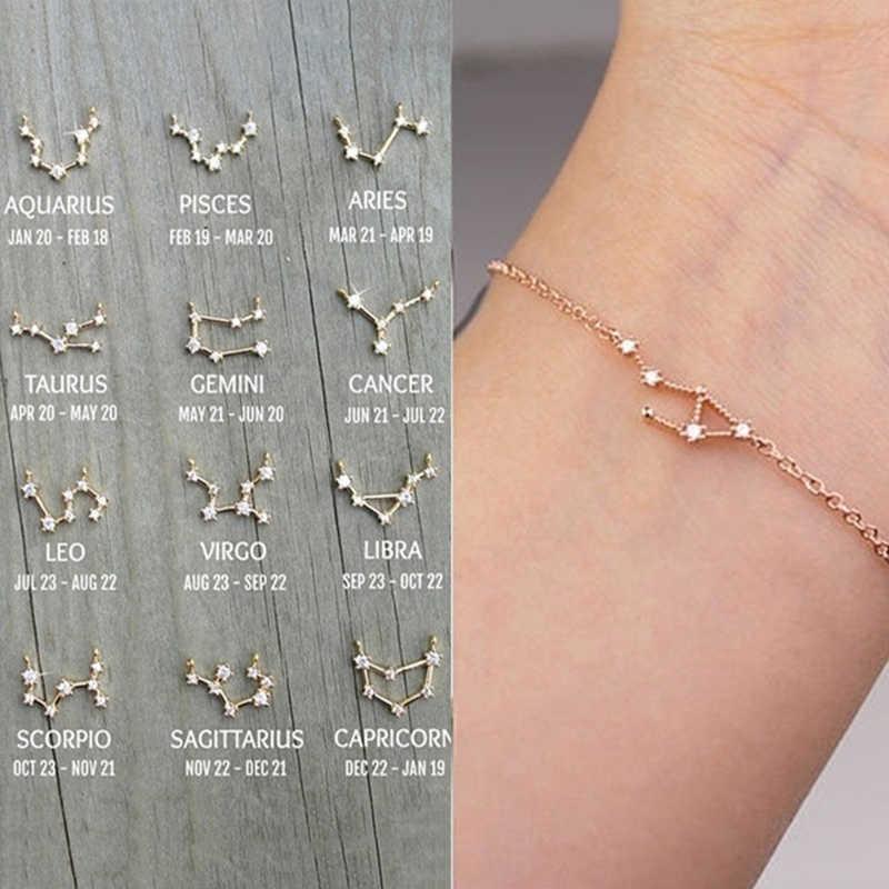 FENGLI takımyıldızı basit bilezikler kadınlar için Charm zodyak desen zincir bilezik bebek doğum günü bilezik takı hediye