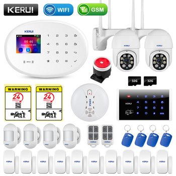 KERUI WIFI GSM Smart Home Security Alarm System RFID APP Control Wireless Smoke Detector Sensor Burglar Surveillance IP Camera 1