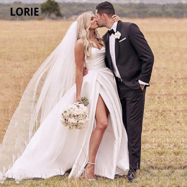LORIE Satin Wedding Dresses Strapless A-Line Bridal Gowns Princess Custom Made High Split Wedding Gown vestido de noiva 2021 1