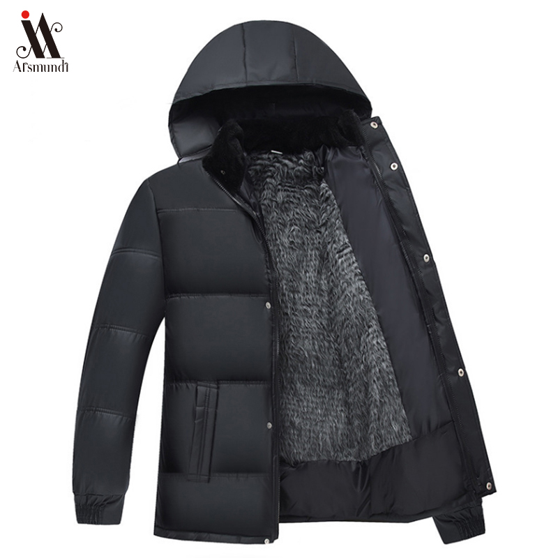 2019 New Winter Men Jacket Medium-long Thick Outwear Hooded Wadded Coat Slim Parka Cotton-padded Jacket Overcoat Plus Size 3XL