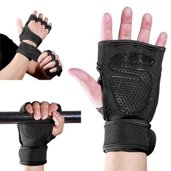 Weight Lifting Gym Fitness Gloves Hand Palm Protector with Wrist Wrap Support Crossfit Workout Bodybuilding Power mounchain adjustable leather weight lifting fitness crossfit belt lifting strap support stainless lock jaw gym fitness guard