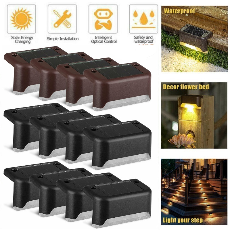 4/8PCS Solar Deck Lights Solar Step Lights Outdoor Waterproof Led Solar Fence Lamp For Patio Stairs Garden Pathway Step Yard