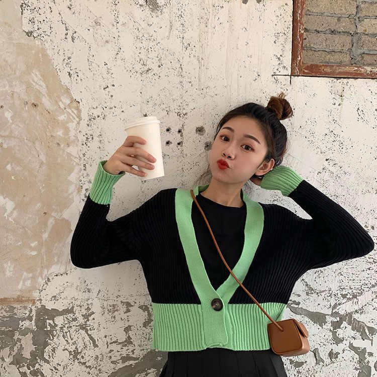 Модный женский кардиган хлопковый топ на бретельках с v-образным вырезом в Корейском стиле Модный брендовый дизайнерский осенний длинный рукав ulzzang дамы