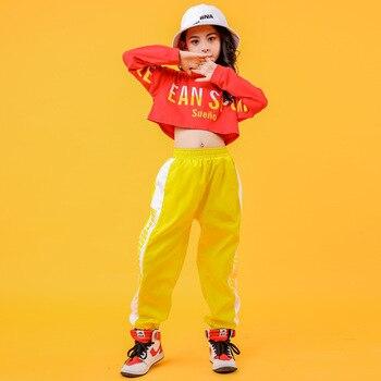 Ropa fresca de Hip Hop para niños, sudadera roja, Camiseta corta, pantalones casuales para correr para niña, traje de baile de Jazz, ropa