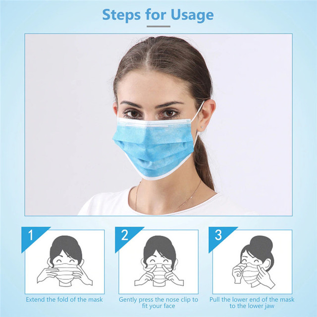 50pcs Disposable N95 Mask 3 Ply Face Mouth Masks Flu Nonwoven Anti Dust Earloops Filter Masks 4