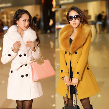 Women's Faux Fur Collar Solid Trench Coat Lady Slim Double Breasted Woolen Jackets Coat  Autumn Winter Female Outwear faux fur double breasted coat
