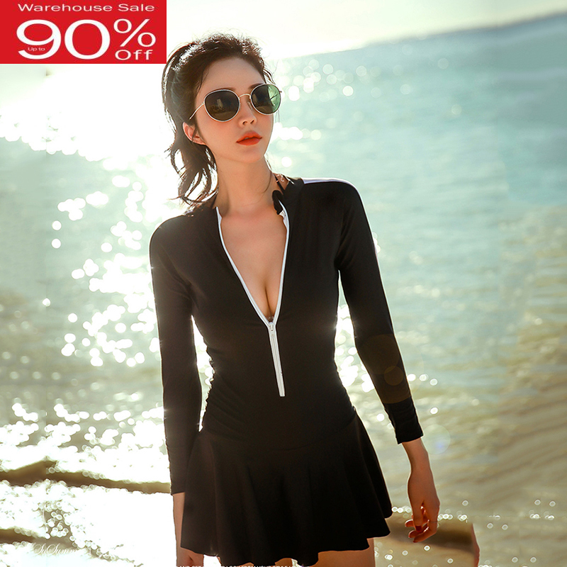 Women Black Swimsuit Long Sleeves Push Up Swimwear Swimming <font><b>Skirt</b></font> Sport Ladies <font><b>Bodysuits</b></font> Maillot De Bain Monokini Bathing Suits image
