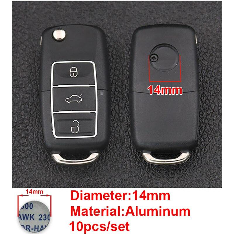 10 шт. 14 мм наклейка на ключ от автомобиля эмблема логотип для Volkswagen VW CC T-ROC гольф для девочек 4, 5, 6, 7, Sharan 7N Passat B5 B6 B7 Tiguan EOS R автомобиля Товары