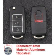 10 pçs 14mm etiqueta chave do carro emblema logotipo para volkswagen vw cc T-ROC golf 4 5 6 7 sharan 7n passat b5 b6 b7 tiguan eos r bens de carro