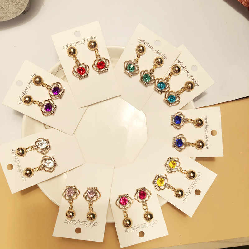 2019 hot sale crown earrings new fashion gold color ear jewelry for female women party jewerly wholesale