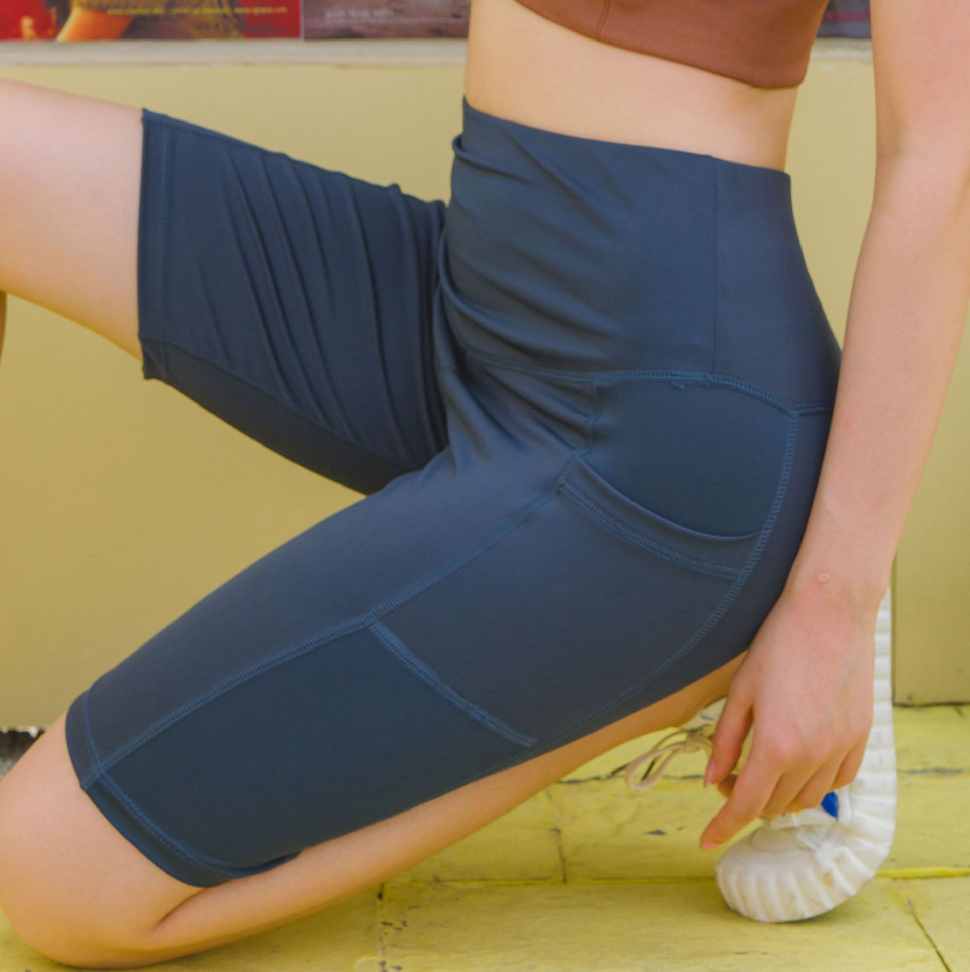 New Style Side Edge Pocket Sports Yoga Tight Shorts High-waisted Belly Holding Breathable Quick-Dry Training Pants Fitness Pants
