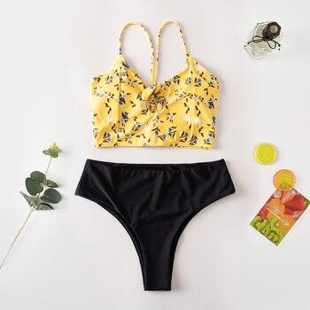 Roseheart Summer Yellow Sexy Bikini Sets Women Swimsuit Padded Cross Straps Swimwear High Waist Bathing Suit Female Beach Style