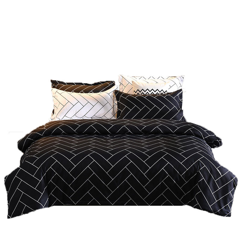 Geometric Bedding Sets Duvet Cover Pillowcase Simple Black And White Twill Comforter Bedclothes Bed Linen King Size Home Textile