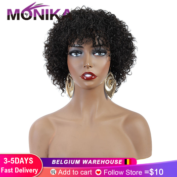 Monika Peruvian Jerry Curl Human Hair Wigs Non-Remy Pixie Cut Wig Honey  Blonde Glueless Afro For Women Free Shipping - discount item  64% OFF Human Wigs( For Black)