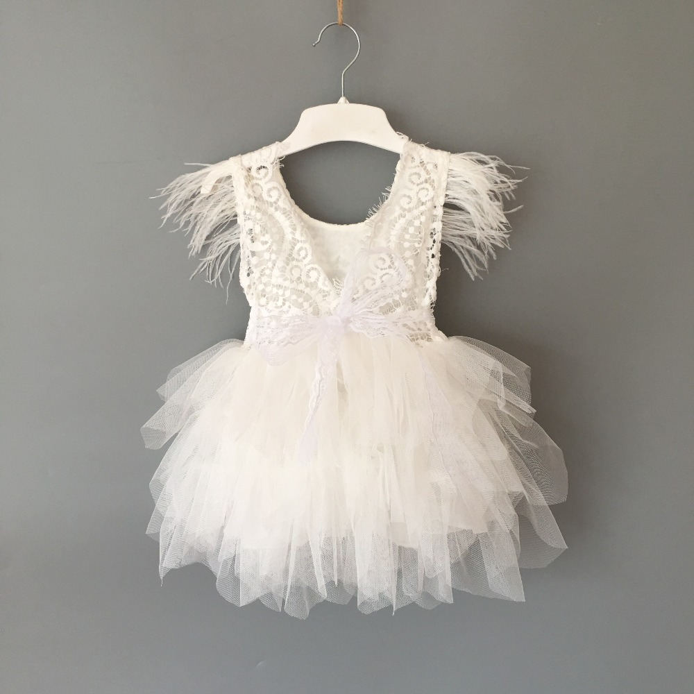 Princess baby feather dress 1st birthday party toddler girls lace flying sleeve summer dress kids tutu clothing with sashes 2