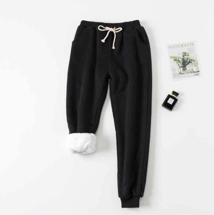 Winter Women Long Trousers Warm Thick Lamb Cashmere Harem Pants Female Elastic Waist Sweatpants Plus Size Cotton Casual Pants
