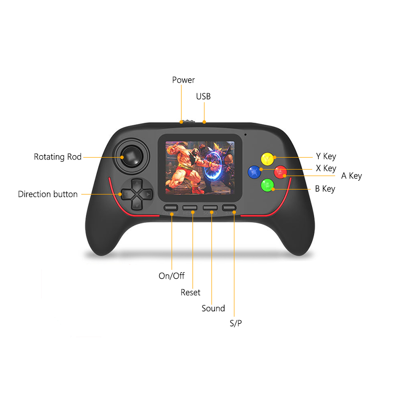 New Hot Childhood Classic Game With 788 Games 2.5 Inch Hd Screen 16-Bit Pvp Portable Handheld Game Console Black