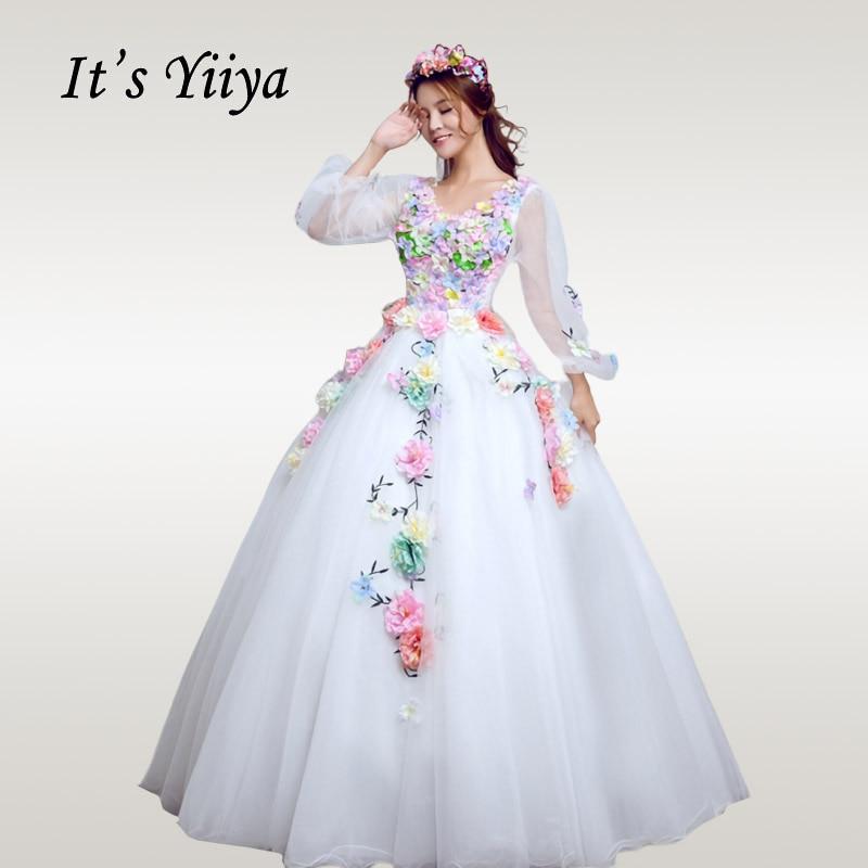 It's YiiYa Wedding Dress Elegant Long Lantern Sleeve White Wedding Ball Gowns Plus Size V-neck Crystal  Robe De Mariee CH198