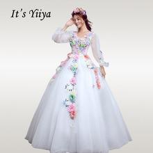 Its YiiYa Wedding Dress Elegant Long Lantern Sleeve White Ball Gowns Plus Size V-neck Crystal  Robe De Mariee CH198