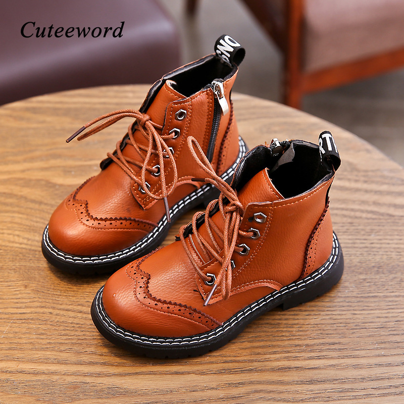 Kids Martin Boots Waterproof Girls Fashion Boots Children Leather Warm Thicken Boots Winter Slip Lace Up Zip Girls Casual Shoes