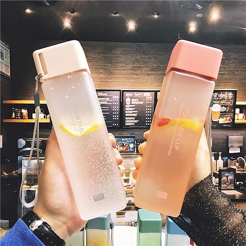 500ml Cute New Square Tea Milk Fruit Water Cup for Water Bottles Drink with Rope Transparent 500ml Cute New Square Tea Milk Fruit Water Cup for Water Bottles Drink with Rope Transparent Sport Korean Style Heat Resistant