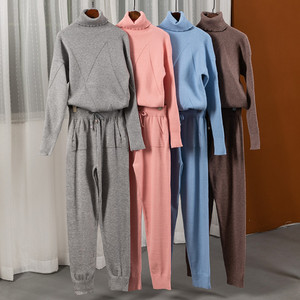 Image 4 - Turtleneck Pullover Sweatshirts Knit Pants Suit Two Piece Sets Women Autumn Winter Warm Knitted Tracksuit Sporting Suit Female