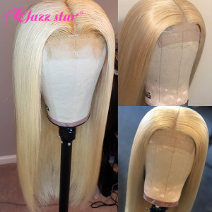 Brazilian Lace Wig 4*4 Straight Lace Closure Wig Human Hair Wigs 613 Blonde Wig Pre-plucked with Baby Hair Jazz Star Non-Remy