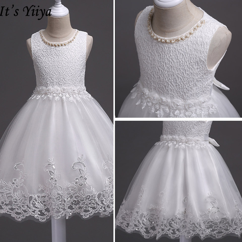 It's YiiYa Flower Girl Dresses For Girls Weddings O-neck Tank Communion Gowns Elegant Kids Party Girls Pageant Dresses 981