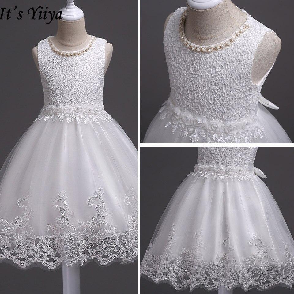 It's YiiYa Flower Girl Dresses For Girls Weddings O-neck Tank Communion Gowns Elegant Kids Party Girls Pageant Dresses 981
