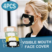4pcs Smile Maks Communicator Face Maks With Clear Mouth Expression Lip Reading Maks Face Maks Reusable Mascarillas Hijab Scarf(China)